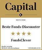 "Auszeichnung für FondsClever.de: ""Beste Fonds-Discounter"" in Capital Heft 11/2020."