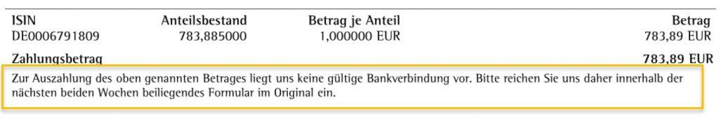 ebase fehlende Bankverbindung
